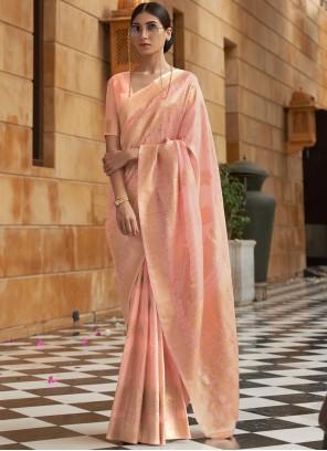 Fancy Fabric Weaving Traditional Designer Saree in Peach
