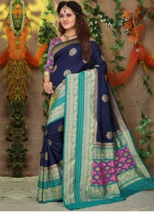 Fancy Fabric Weaving Traditional Saree in Navy Blue