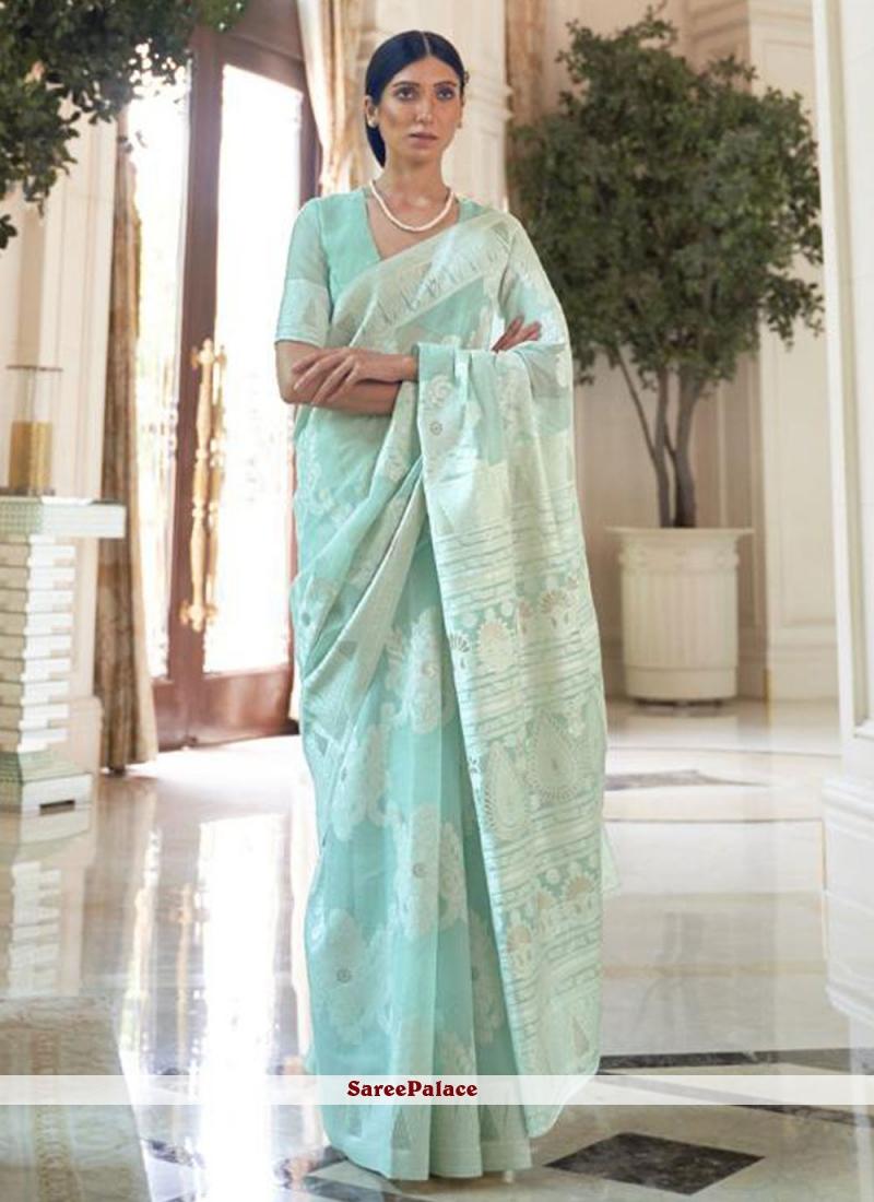 Fancy Fabric Weaving Traditional Saree in Sea Green