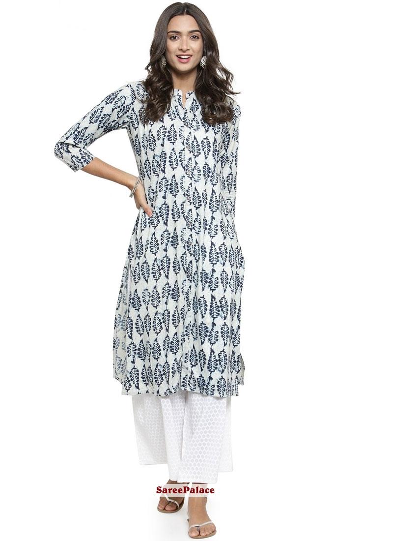 d777e1f8d5 Buy Fancy Fabric White Casual Kurti Online