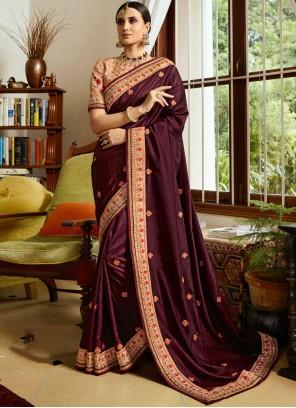 Fancy Fabric Wine Classic Designer Saree