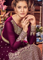 Fancy Fabric Wine Floor Length Anarkali Suit