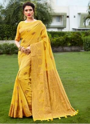 Fancy Fabric Woven Yellow Designer Traditional Saree