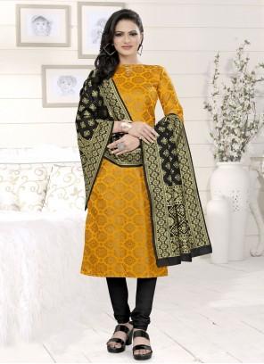 Fancy Fabric Yellow Churidar Suit