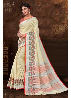 Fancy Fabric Yellow Floral Print Designer Saree