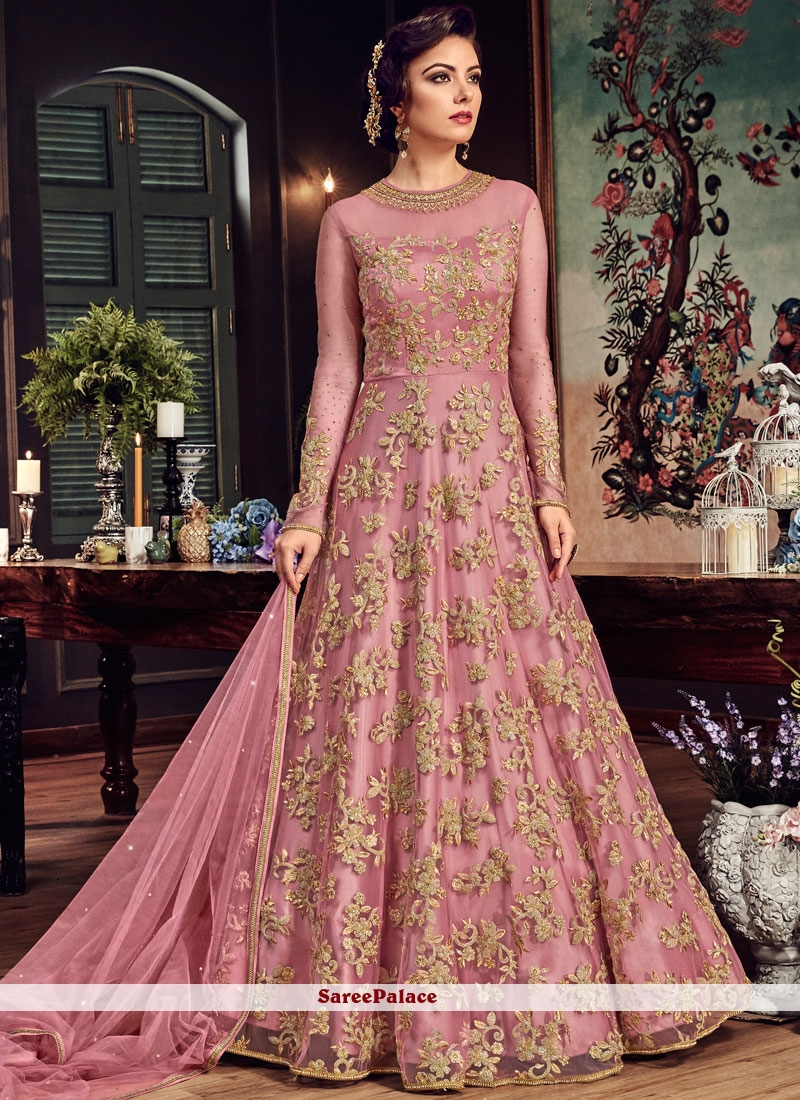 Fancy Fabric Zari Pink Floor Length Anarkali Suit