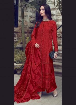 Fancy Red Fabric Designer Straight Suit