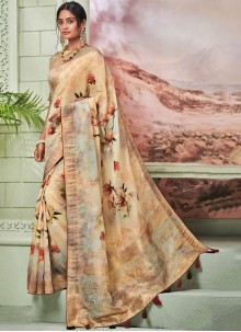 Fancy Fancy Fabric Printed Saree in Multi Colour