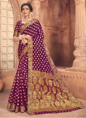 Fancy Faux Chiffon Purple Traditional Designer Saree