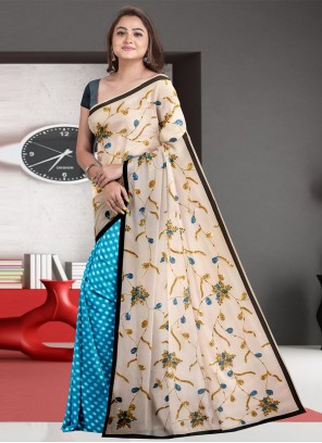 Fancy Faux Georgette Blue and Off White Designer Half N Half Saree