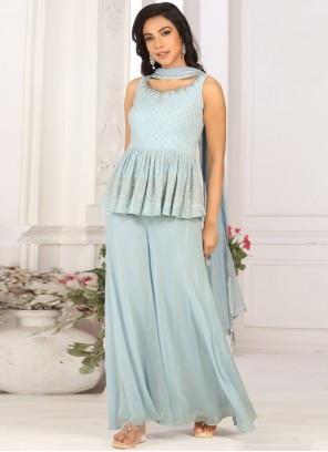 Fancy Faux Georgette Blue Designer Palazzo Salwar Kameez
