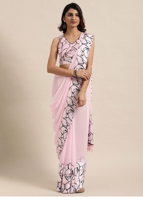 Fancy Faux Georgette Classic Saree in Pink