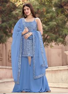 Fancy Faux Georgette Designer Pakistani Suit in Grey