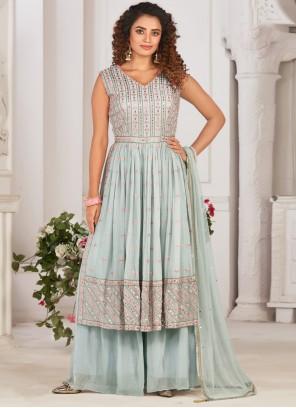 Fancy Faux Georgette Designer Palazzo Suit in Blue