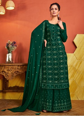 Green Fancy Festival Designer Palazzo Salwar Suit