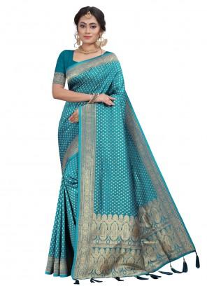 Fancy Festival Blue Designer Traditional Saree