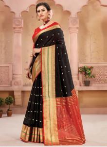 Black Fancy Festival Designer Traditional Saree