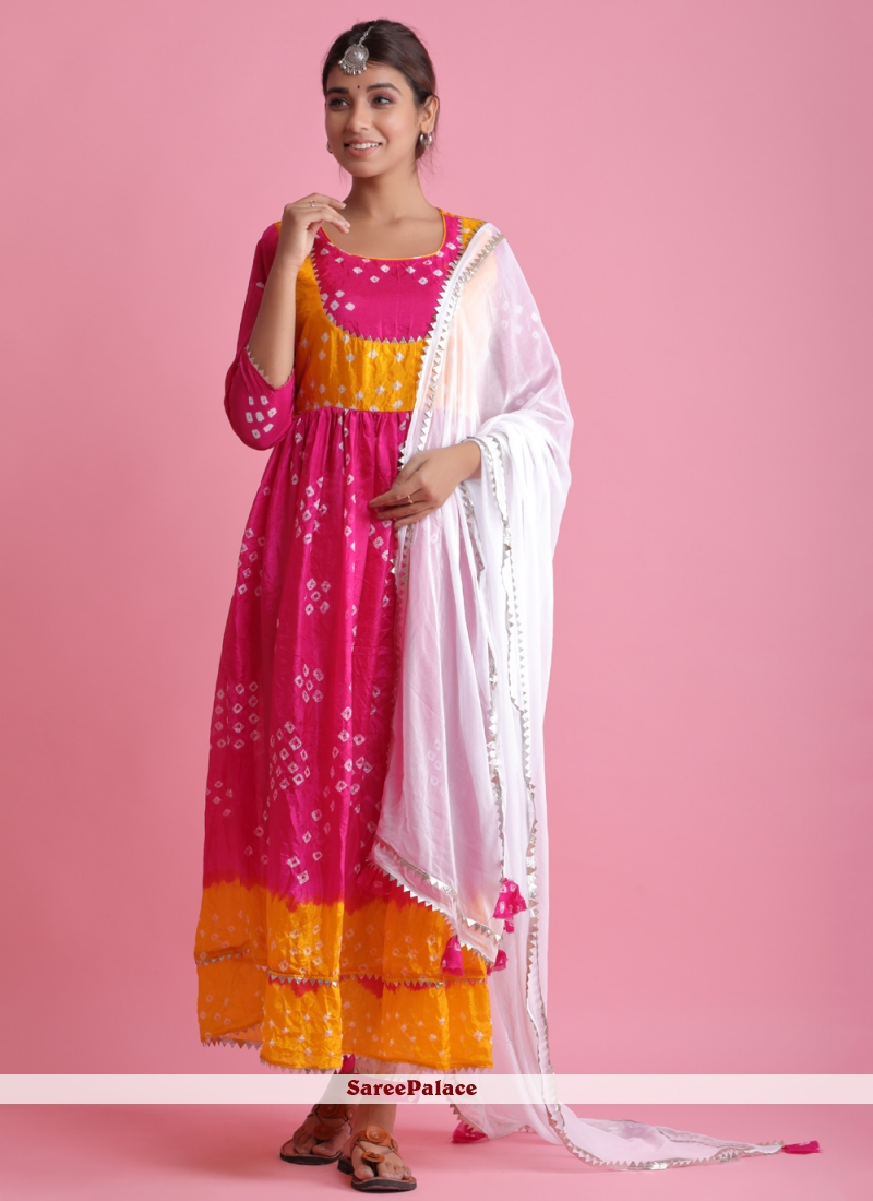 Fancy Festival Hot Pink Readymade Suit