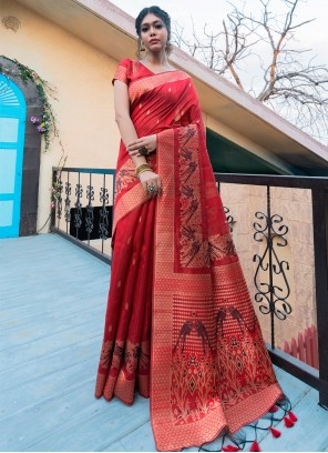 Red Fancy Festival Traditional Saree