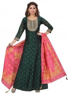 Green Fancy Floor Length Anarkali Suit