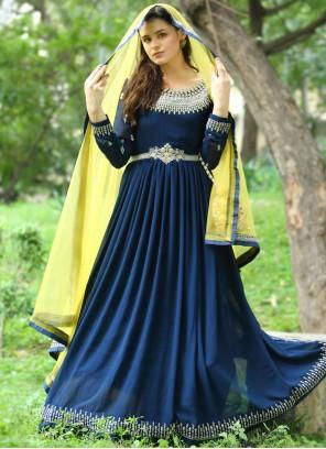 Navy Blue Fancy Floor Length Anarkali Suit
