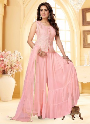 Pink Fancy Georgette Readymade Suit