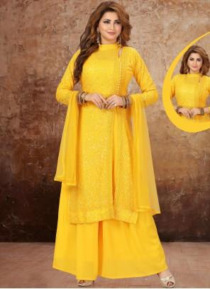 Fancy Georgette Yellow Designer Suit