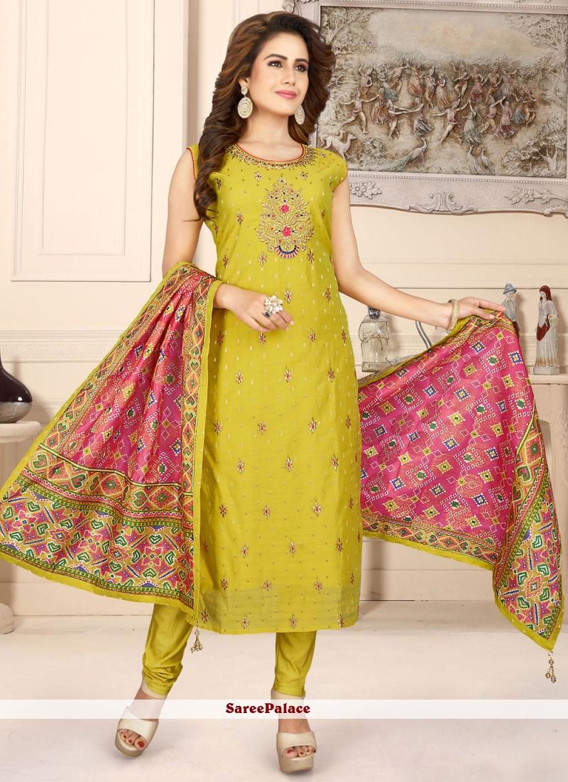 Fancy Green Chanderi Readymade Suit