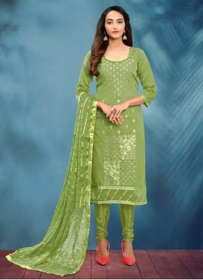 Fancy Green Churidar Designer Suit