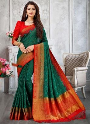 Fancy Green Cotton Designer Traditional Saree