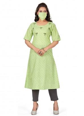 Fancy Green Cotton Party Wear Kurti