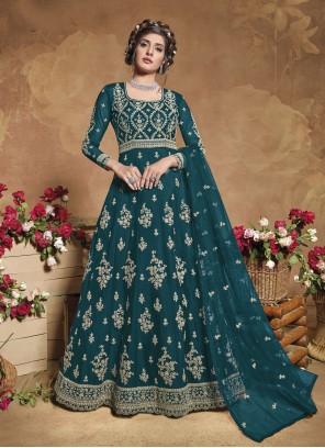 Fancy Green Floor Length Anarkali Suit
