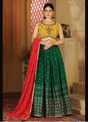 Fancy Green Readymade Lehenga Choli