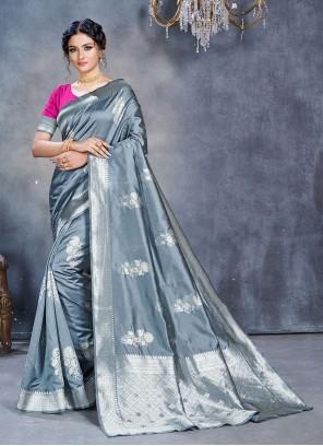 Fancy Grey Classic Designer Saree