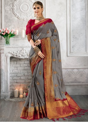 Fancy Grey Designer Saree