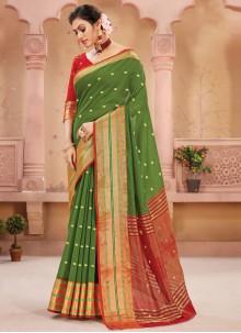 Fancy Handloom silk Designer Traditional Saree in Green