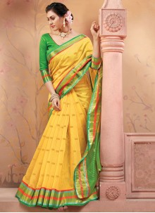 Fancy Handloom silk Designer Traditional Saree in Yellow