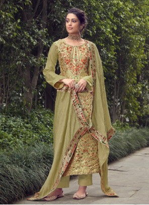 Fancy Jacquard Silk Designer Pakistani Suit in Green