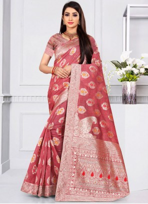 Fancy Jacquard Silk Designer Traditional Saree in Rose Pink