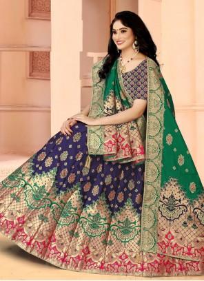 Blue Fancy Banarasi Silk Lehenga Choli