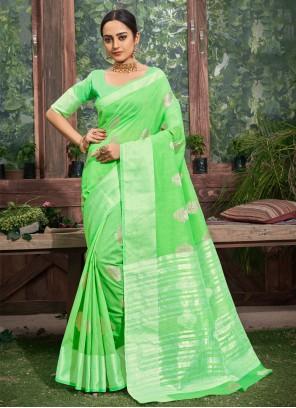 Fancy Linen Trendy Saree in Green