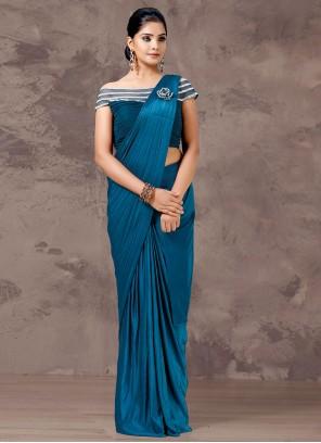 Fancy Lycra Blue Designer Saree