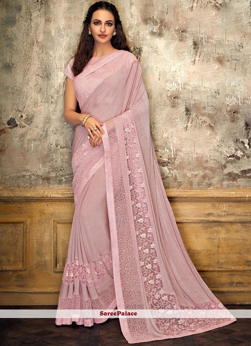 Fancy Lycra Pink Designer Saree