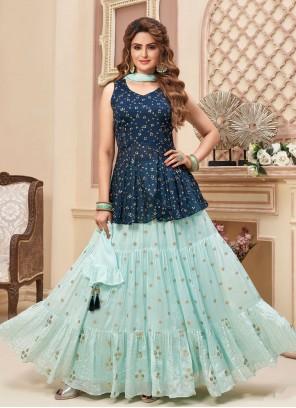 Blue Fancy Mehndi Readymade Lehenga Choli