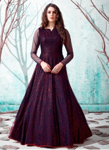 Fancy Navy Blue Designer Gown