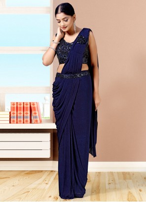 Fancy Navy Blue Lycra Designer Saree