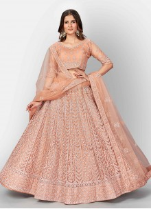 Peach Fancy Net Lehenga Choli