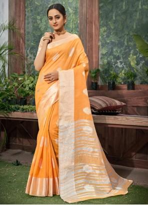 Fancy Orange Trendy Saree