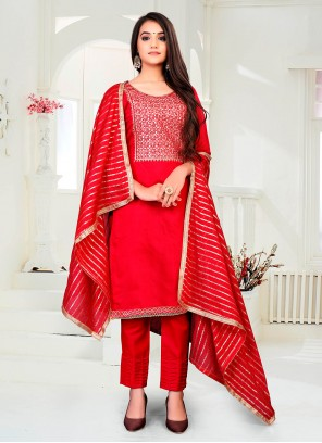 Red Chanderi Fancy Pant Style Suit