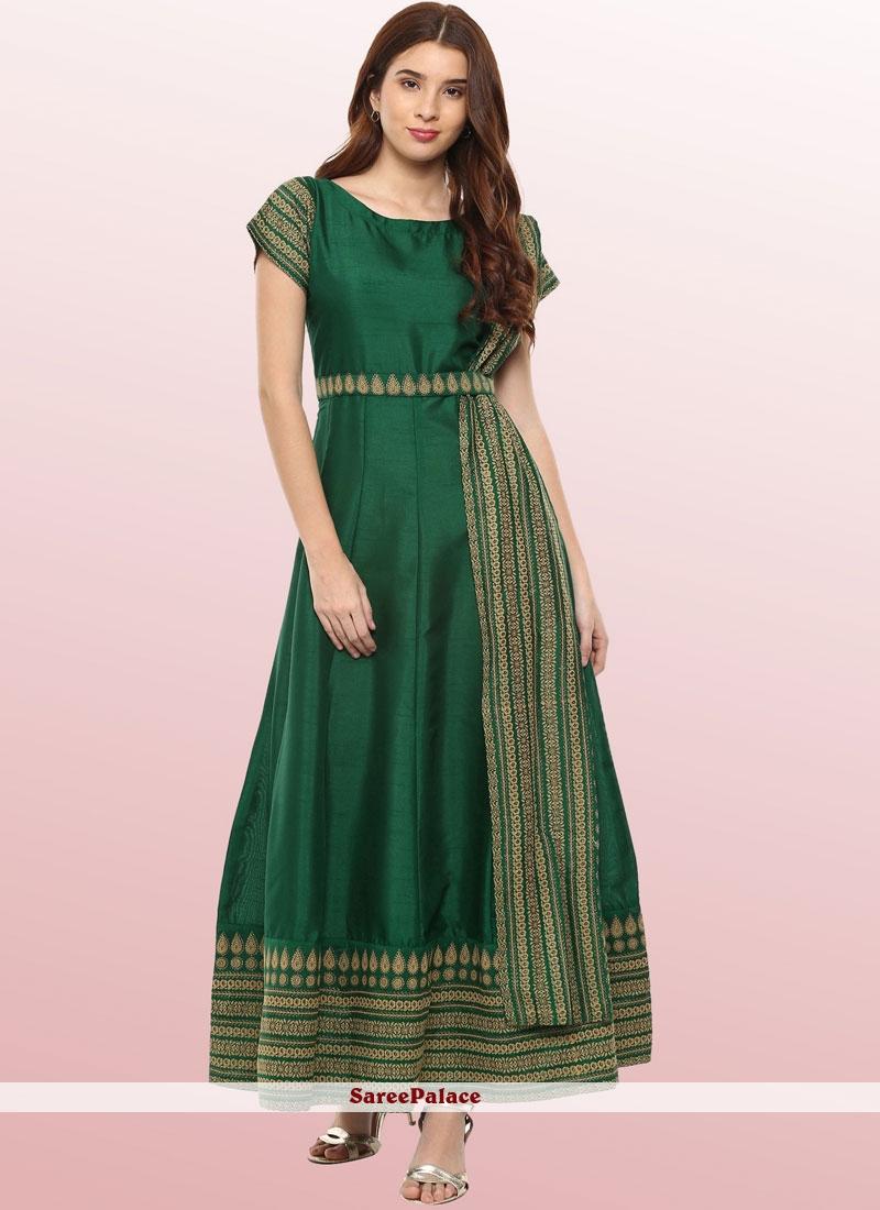Fancy Poly Silk Party Wear Kurti in Green